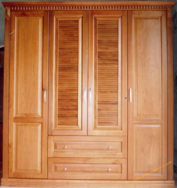 Tủ gỗ đựng quần áo thiết kế đơn giản