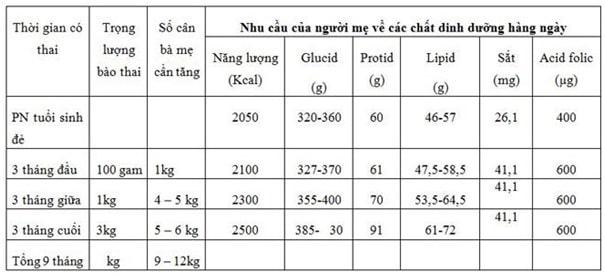 bảng nhu cầu dinh dưỡng hàng ngày của người mẹ mang thai