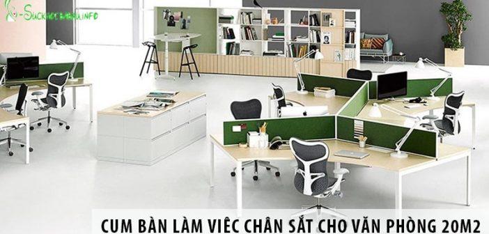3 cụm bàn làm việc chân sắt cho văn phòng diện tích 20m2