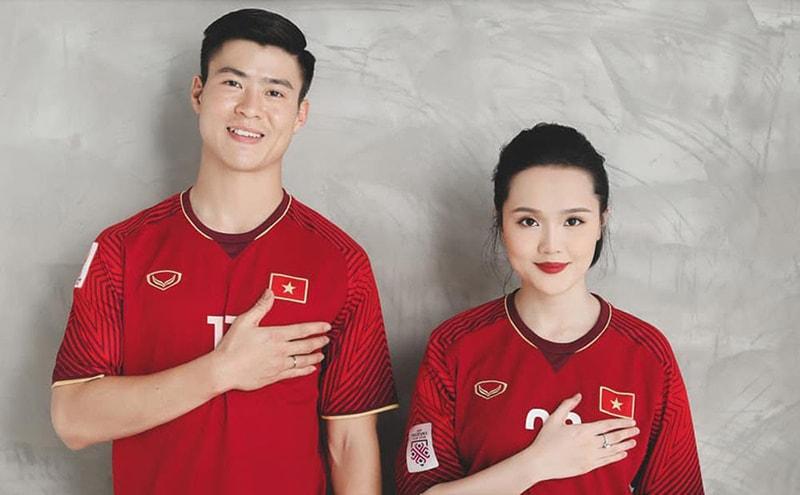 Cầu thủ Đỗ Duy Mạnh và vợ